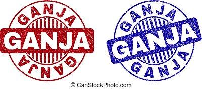 Grunge GANJA Textured Round Stamp Seals