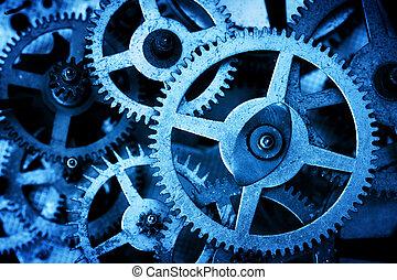 Grunge gear, cog wheels background. Industrial science, ...