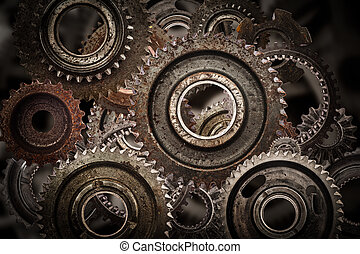 Grunge gear, cog wheels mechanism background.. Industry,...