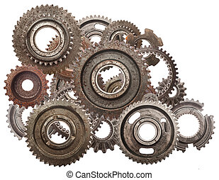Grunge gear, cog wheels mechanism isolated on white. Industry, science