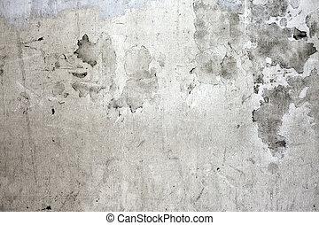 grunge, gebarsten, concrete muur