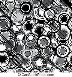grunge, gedaantes, zwarte achtergrond, witte , ronde