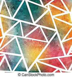 grunge, gekleurde, model, effect, seamless, driehoek