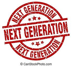 grunge, generación, luego, estampilla, redondo, rojo