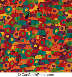 Grunge geometric seamless pattern in bright colors