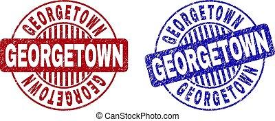 Grunge GEORGETOWN Scratched Round Watermarks