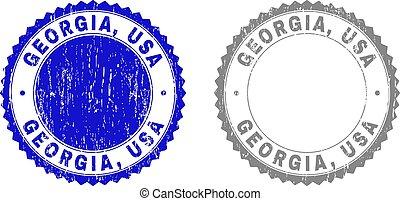 Grunge GEORGIA, USA Scratched Stamp Seals