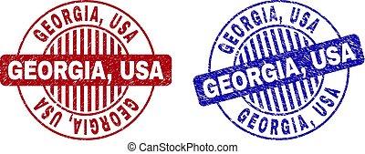Grunge GEORGIA, USA Textured Round Stamps