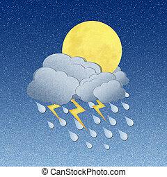 grunge, gerecyclde, papier, maan, in, de, nacht, met, regen