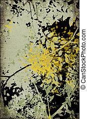 grunge, geribd, blossom , silhouette, afdrukken, vrijstaand, op, black