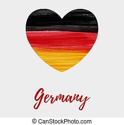 Grunge German flag in heart shape