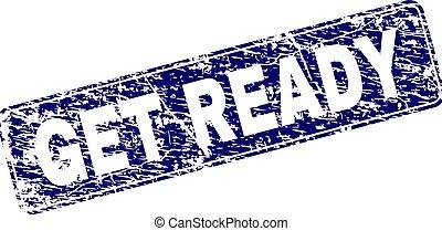 Grunge GET READY Framed Rounded Rectangle Stamp