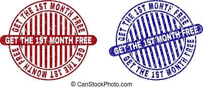 Grunge GET THE 1ST MONTH FREE Textured Round Stamp Seals