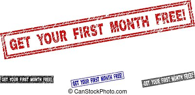 Grunge GET YOUR FIRST MONTH FREE! Scratched Rectangle Stamp Seals