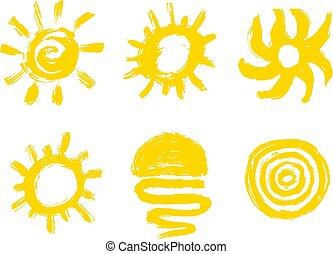 grunge, geverfde, zon, website., element, slagen, weer, ontwerp, borstel, icon., voorspelling, texture.