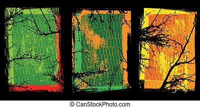 grunge, gewebe, mit, bäume