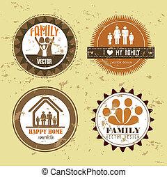 grunge, gezin, zegels