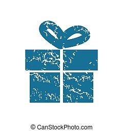 Grunge gift box icon