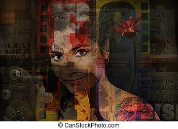 grunge, girl, portrait