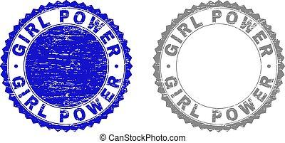 Grunge GIRL POWER Scratched Stamp Seals