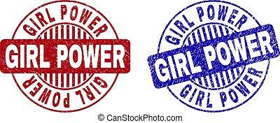 Grunge GIRL POWER Textured Round Stamps