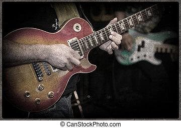 grunge, gitarre, und, gitarrist