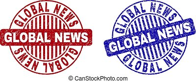 Grunge GLOBAL NEWS Scratched Round Stamps
