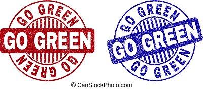 Grunge GO GREEN Scratched Round Watermarks