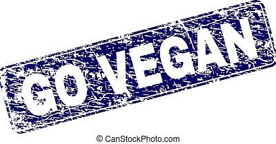 Grunge GO VEGAN Framed Rounded Rectangle Stamp