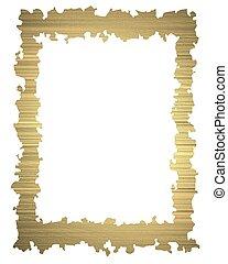 Grunge gold frame isolated white background