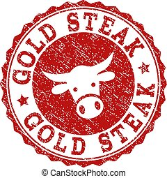 Grunge GOLD STEAK Stamp Seal