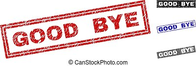 Grunge GOOD BYE Scratched Rectangle Stamp Seals