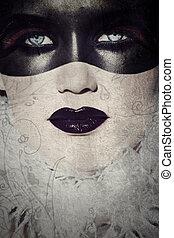 grunge, gotisch, gemaskerd, beauty