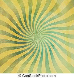 grunge, grön, och, gul, årgång, sunburst, virvla runt, snurra, bakgrund, struktur