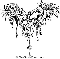 Grunge grafitti  - Black and white grunge grafitti