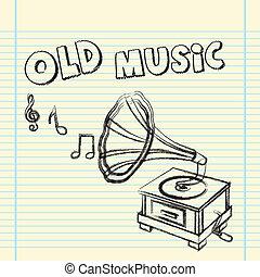 gramophone - grunge gramophone drawing over notebook. vector...