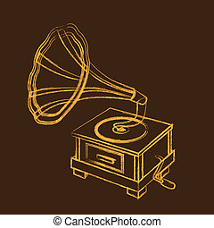 grunge gramophone over brown background. vector illustration