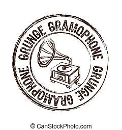 grunge gramophone stamp