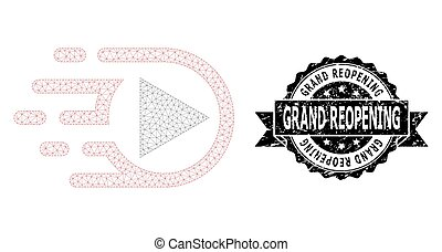 Grand Reopening dirty seal imitation and vector play function mesh model. Black stamp seal contains Grand Reopening text inside ribbon and rosette. Abstract flat mesh play function,