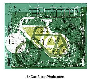 grunge, graphique, cyclisme