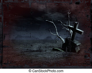 grunge background - gravestone at night - illustration
