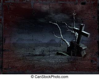 grunge grave - grunge background - gravestone at night - ...