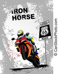 Grunge gray background with motorcycle image. Iron horse....