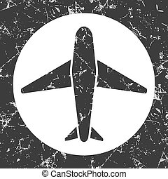 grunge gray circle icon - airplane