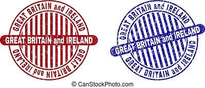 Grunge GREAT BRITAIN AND IRELAND Scratched Round Stamp Seals