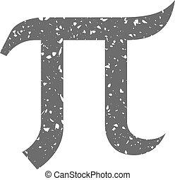 grunge, greco, pi, -, icona