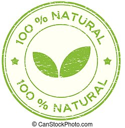 Grunge green 100 percent nutural with leaf icon round rubber stamp