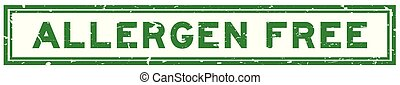 Grunge green allergen free word square rubber seal stamp on white background