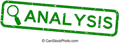 Grunge green analysis word with magnifier icon square rubber seal stamp on white background