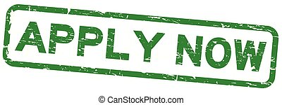 Grunge green apply now square rubber seal stamp on white background